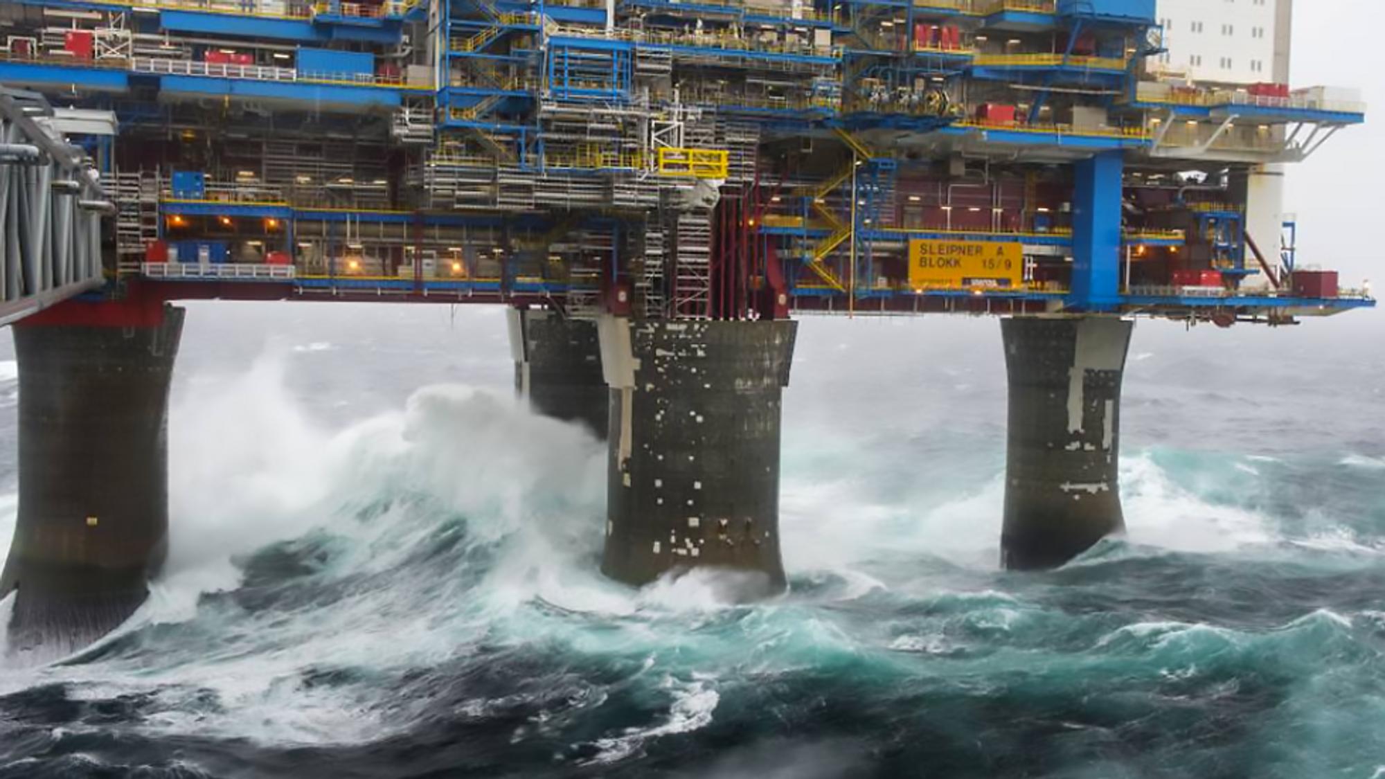 Hvordan påvirker sterke krefter store konstruksjoner? Bildet er fra Slepner A-plattformen.