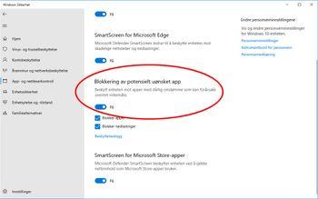 Innstillingen for blokkering av potensielt uønskede apper i Windows 10.