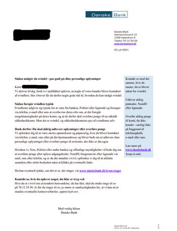 Brevet Danske Bank har sendt til sine kunder.