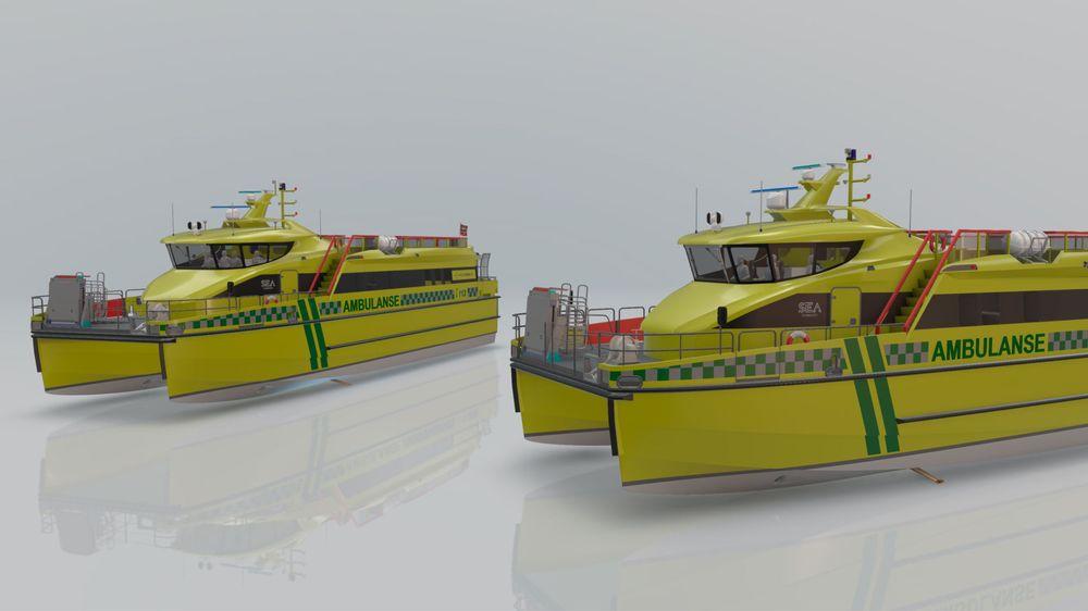 De to ambulansebåtene til Gulen Skyss er designet av Sea Technology og får baugfoiler i hvert skrog. De vil sørge for at farten kan være høy uten at det går ut over pasient- og passasjerkomfort.
