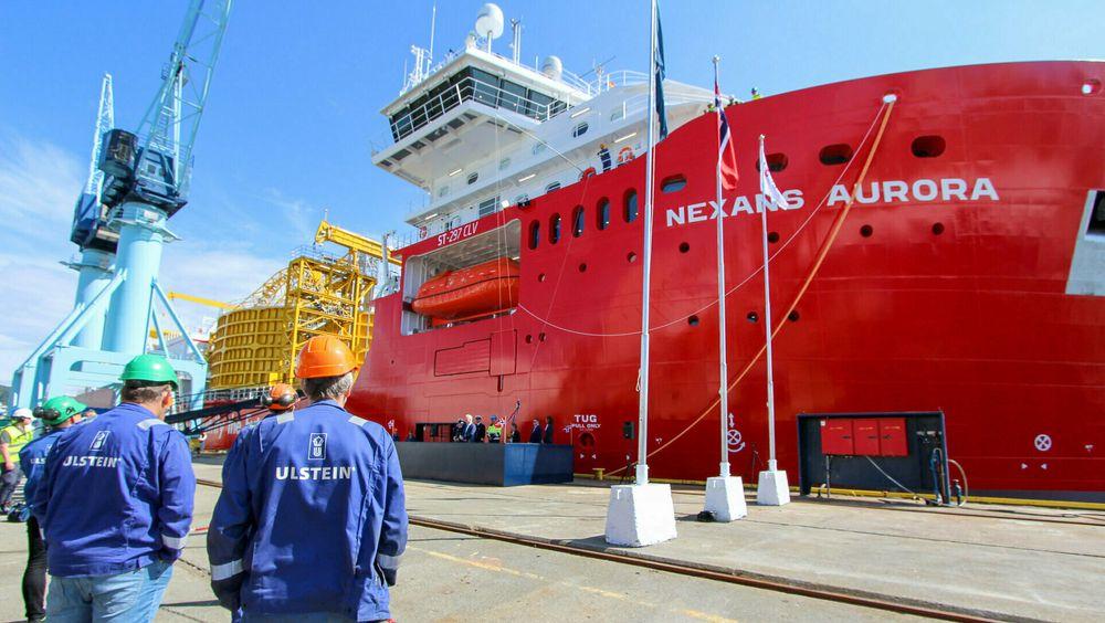 Skipsbygging og leverandørinsustrien sørger for milliarder av kroner i skatteinntekter og verdiskaping for Norge. Her fra Ulstein Verft og dåpen av Nexans Aurora i juni 2021.