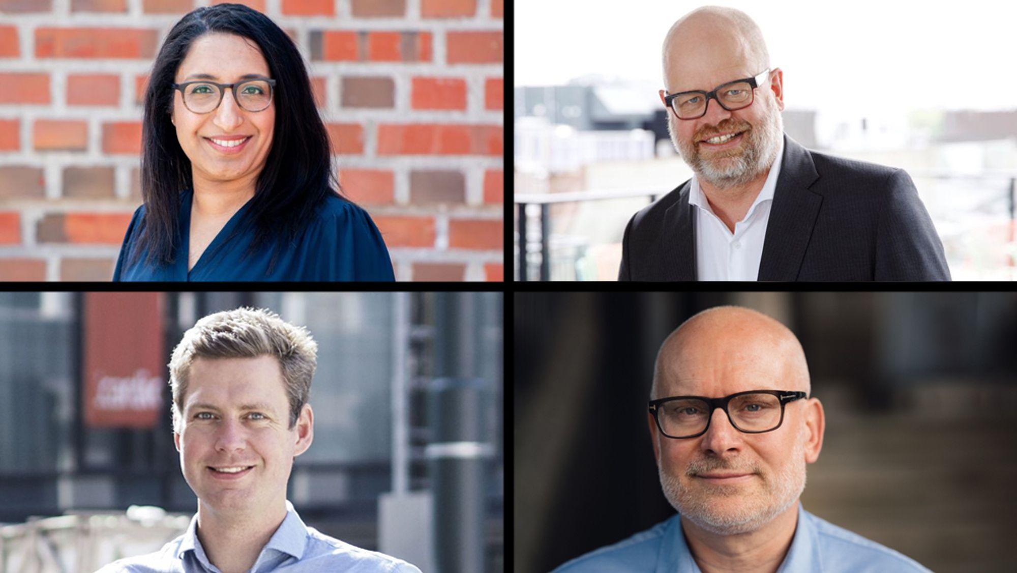 –Dette er et godt tidspunkt å skifte jobb, dersom man ønsker det, sier Erlend Aarsand i Tekna, nederst til høyre. Øverst fra venstre: Farah Ali i Nito, Even Bolstad i HR Norge og Christopher Ringvold i Finn.no.