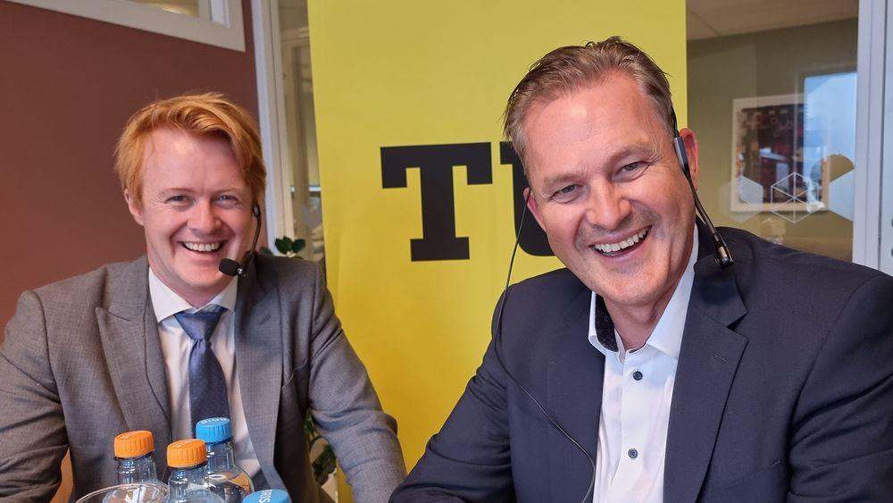 Elfly-radarpar: Sigurd Øverbø (t.v.) er administrerende direktør i Rolls Royce Electrical Norway. Andreas Kollbye Aks er strategidirektør i Widerøe.