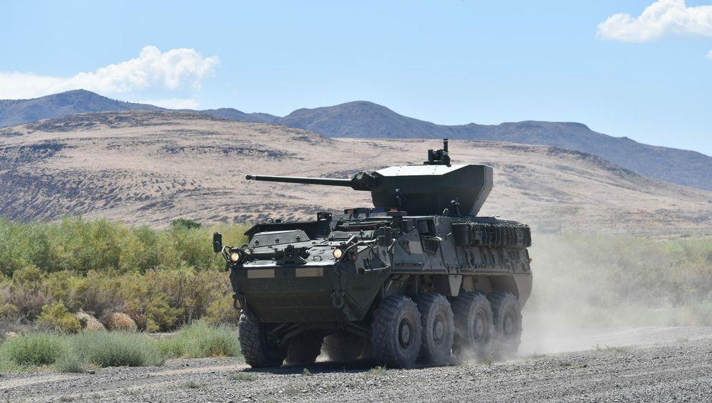 Stryker PPK med ubemannet Samson-tårn utviklet av Oshkosh og Rafael.