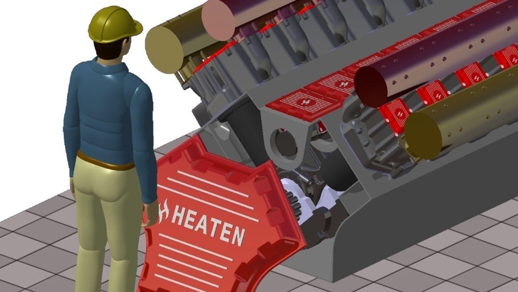 HeatBooster på 6 MW bygget opp av kompressorsylindre i V-formasjon.
