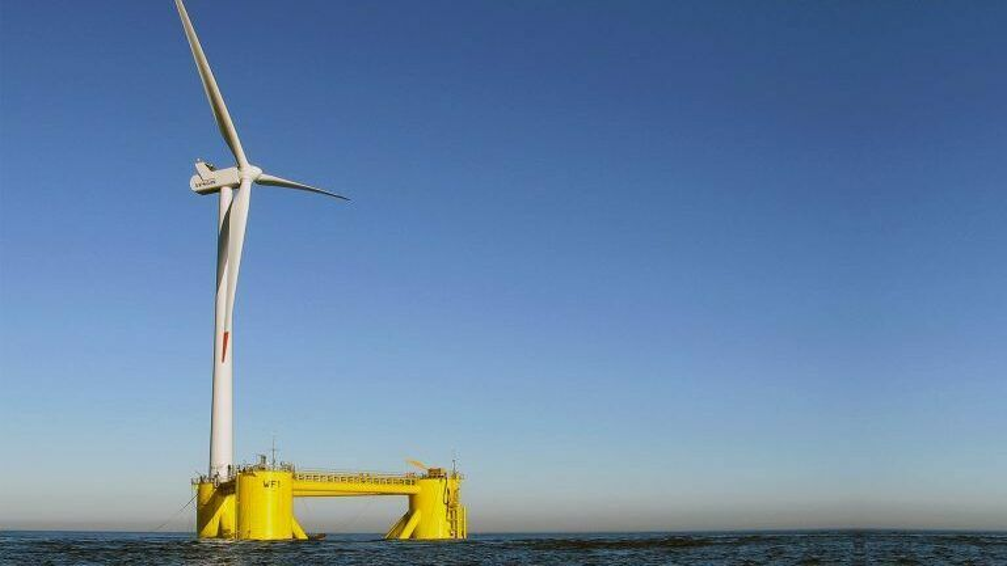 Aker Offshore Wind satser stort på flytende havvind. Her fra den halvt nedsenkbare modulen til Principle Power, et selskap Aker eier 47 prosent av.