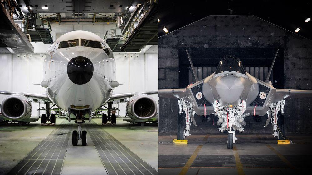 Fra januar 2022 blir det flyoperasjoner både med P-8A (t.v) og F-35A fra Evenes. De nye kampflyene overtar QRA-beredskapen, mens det nye maritime patruljeflyet starter med testing.