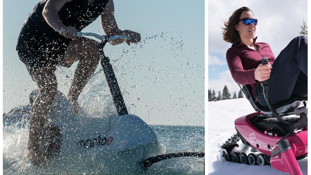 Hydrofoilen Manta 5 er allerede etablert i markedet, mens snøsykkelen Arosno har åpnet for forhåndsbestillinger.