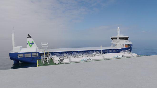 Bunkringsanlegg tilpasset ammoniakk er viktig når skip skal fylle drivstoff. Lekter med ammoniakktanker ligger mellom kaia og et av de planlagte bulkskipene til Viridis.