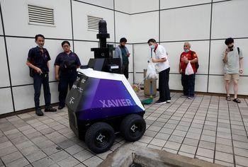 """Autonomous robot Xavier patrols a neighbourhood mall to detect """"undesirable social behaviours"""", such ..."""