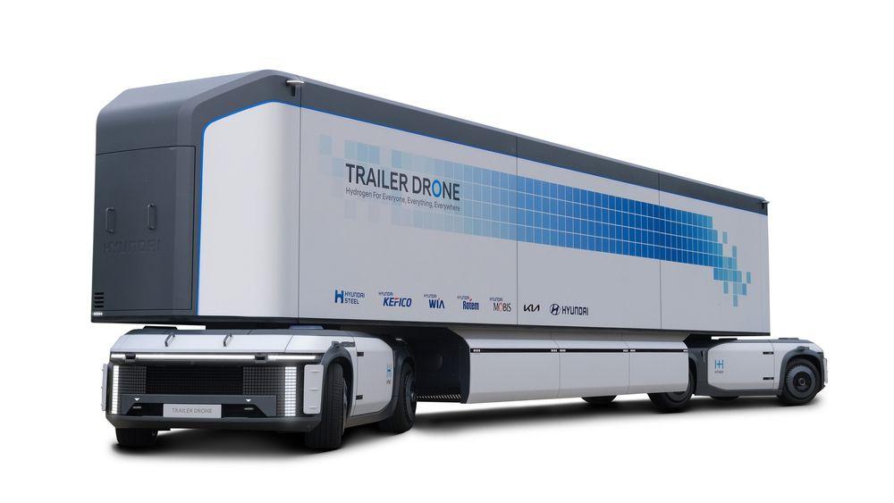 Hyundais dronetrailer har både opplegg for selvkjøring og hjulsett i begge ender. Det kan gjøre trailer-lukeparkering til en drøm.