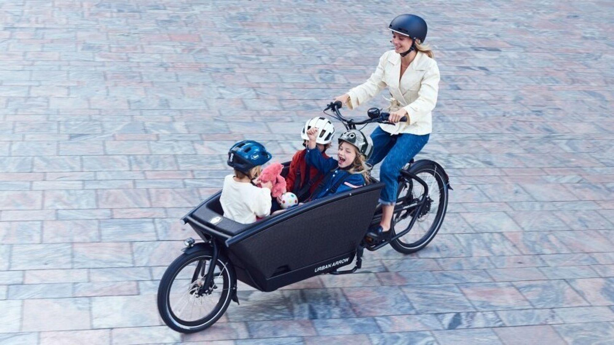 Familiesykler er en av de viktigste underkategoriene for elektriske lastesykler. Denne kommer fra Urban Arrow.