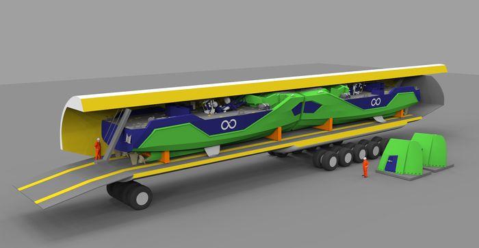 Slik skal to 21-metringer passe inn i et Antonov transportfly ved hasteoperasjoner.