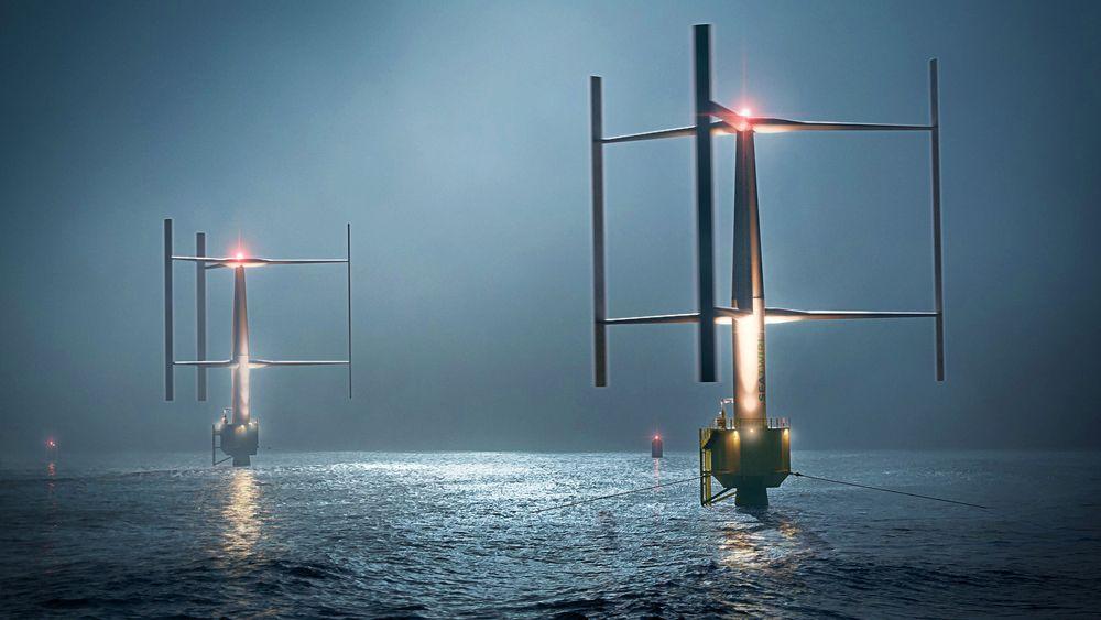 En annerledes måte å bygge vindturbin på. Denne demo-varianten, som roterer rundt en vertikal akse, tilhører det svenske selskapet Sea Twirl og skal starte prøvedrift i Boknafjorden høsten 2022.