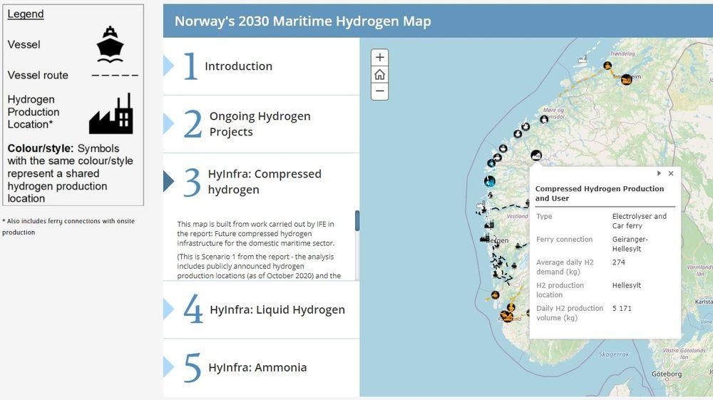 Det interaktive kartet viser hvor det er mest gunstig å plassere produksjonssteder for hydrogen og ammoniakk ut fra kjente prosjekter og planer for bruk i maritim sektor.