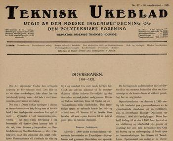 Teknisk Ukeblad fra 16. september 1921 var nesten i sin helhet viet byggingen av Dovrebanen.
