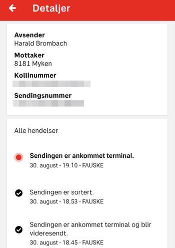 Sporingen av pakken til Myken i Posten-appen.
