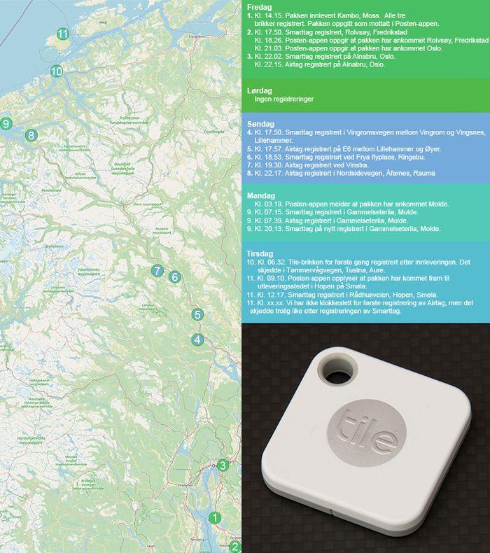Tidslinje og kart for sporingen av pakken som ble sendt til Smøla med Posten. Bilde av en Tile Mate-brikke.