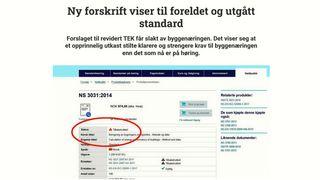 Norsk standard er trukket tilbake, men vises fortsatt til i byggteknisk forskrift