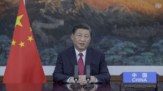 Kinas president Xi Jinping i sin forhåndsinnspilte tale til FNs hovedforsamling.