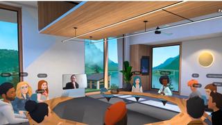 Illustrasjon av møterom der alle er virtuelle.