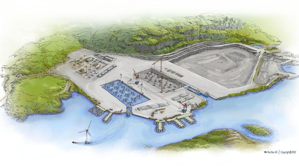 Slik ser initiativtakerne for seg at steinbruddet til Norsk Stein ved Jelsa kan bli bygget om til tørrdokk og kaianlegg for produksjon av komplette havvindmøller.