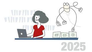 Tegnet illustrasjon. En kvinne jobber på en laptop, bak henne sorterer en robot brev epost og nettsider