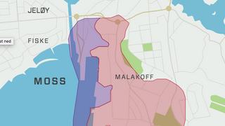 Kart basert på NGIs rapport om kvikkleirerisikoen i sentrale områder i Moss fra februar i år. Blå områder viser utløpsområde for kvikkleire, rosa områder viser kvikkleiresonen.