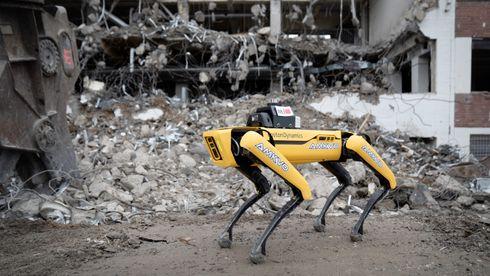 Robothunden Spot, Boston dynamics, NTI, AF, Amkvo, Halvor Jensen, Øyvind Kjøllesdal, robot, byggeplass, laserskanner, gassdetektering, brann, ras, bmi
