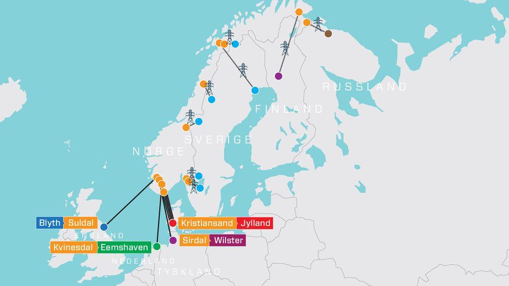 Detter alle Norges utenlandskabler og -linjer per oktober 2021. Den omdiskuterte kabelen Northconnect til Skottland er ikke vedtatt, men derimot satt på vent av Stortinget.