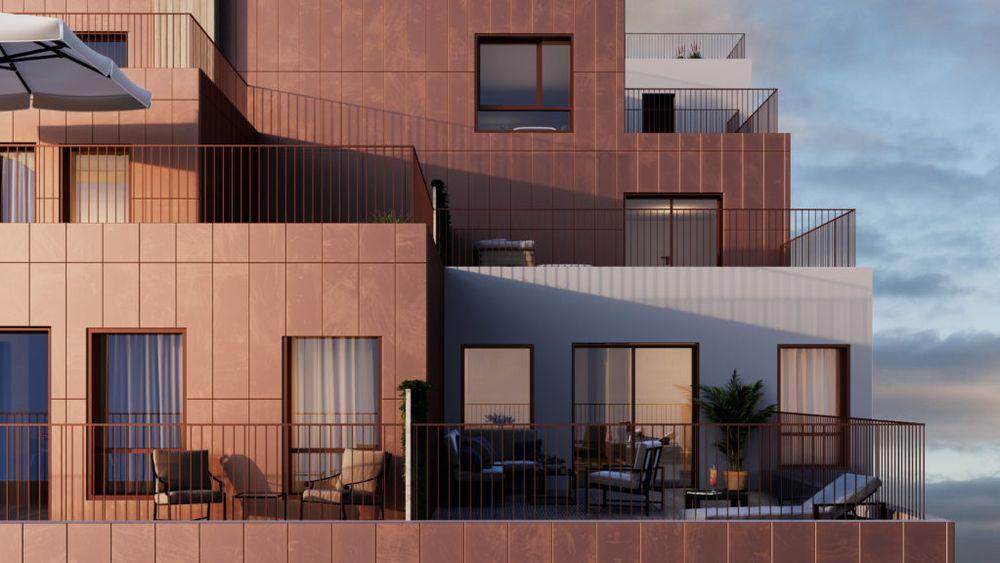 Sentergården på Lørenskog bygges opp med vegger fra Norske Elementfabrikker.