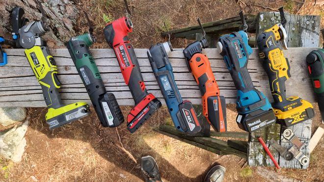 18 volts-modellene som har vært med i testen.