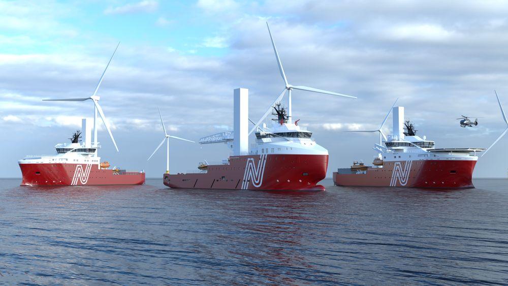 Vard skal bygge to nye spesialskip for installasjon og service på offshorevindparker (CSOV) samt bygge om et  forsyningsskip (i midten på illustrasjonen) til vindserviceskip (SOV). Kontrakten er inngått med nystartede Norwind Offshore med tidligere olje- og gasspesialistrederier som gründere.