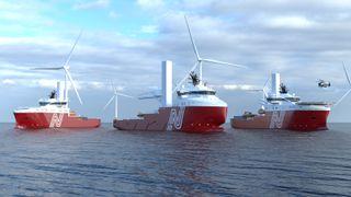 Vard skal bygge to nye spesialskip for installasjon og service på offshorevindparker (CSOV) samt bygge om et  forsyningsskip  (i midten på illustrasjonen) til vindserviceskip (SOV). Kontrakten er inngått med nystartede Norwind Offshore med tidligere olje- og gasspesialistrederier som gründere. VARD 4 16  (CSOV). De blir 90 meter lange, 19,5 meter brede og får lugarplass til 90 personer. Forsyningsskipet som ombygges er 85 meter langt og 18 meter bredt. Etter ombygging ved Vard Brattvaag får det 60 enkellugarer.
