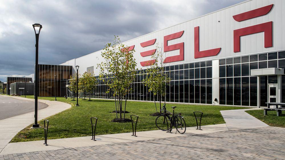 Illustrasjonsfoto av Tesla-fabrikk.