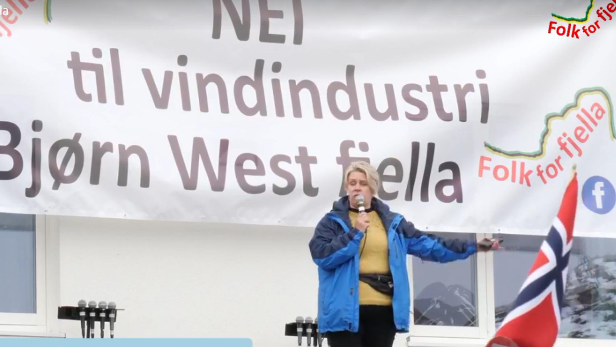 Norges nye olje- og energiminister Marte Mjøs Persen (Ap) holdt i mai i år appell på en demonstrasjon mot vindkraft i Matrefjellene.