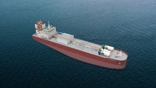 Solvang-rederiets etylenskip Clipper Eos har seilt siden 2019. Illustrasjonen viser CCS-anlegget i eksosanlegget med rør for å føre flytende CO2 til lagertankene på fordekket.