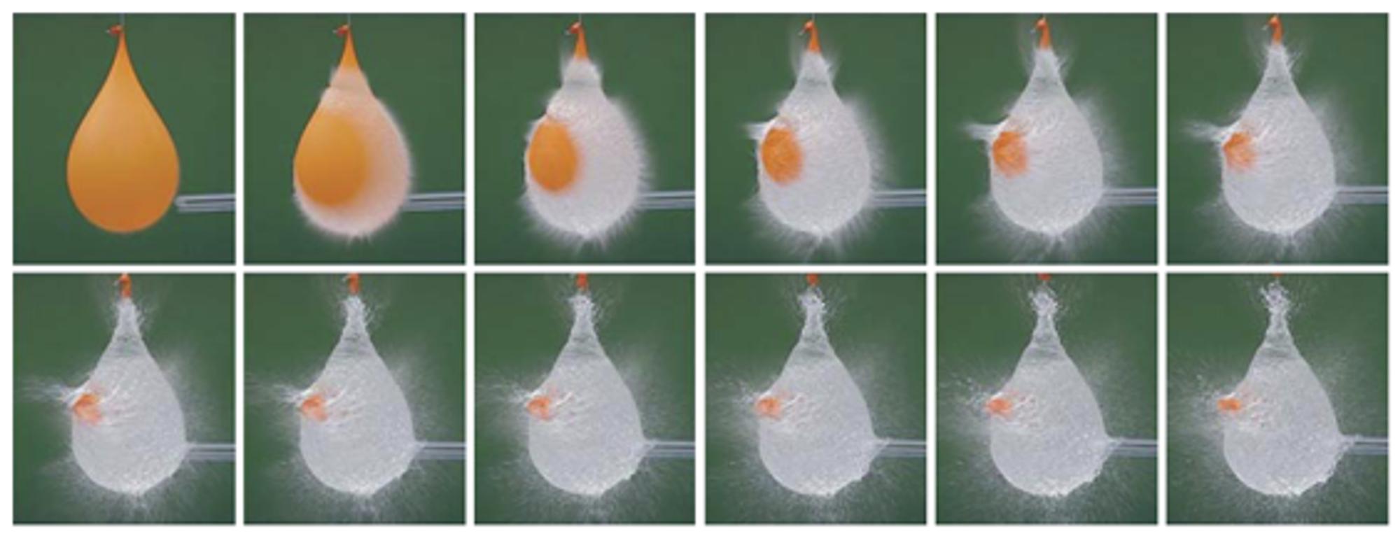Vannballong som sprekker, filmet med Sonys nye CMOS-brikke.<br>Klikk for større bilde.