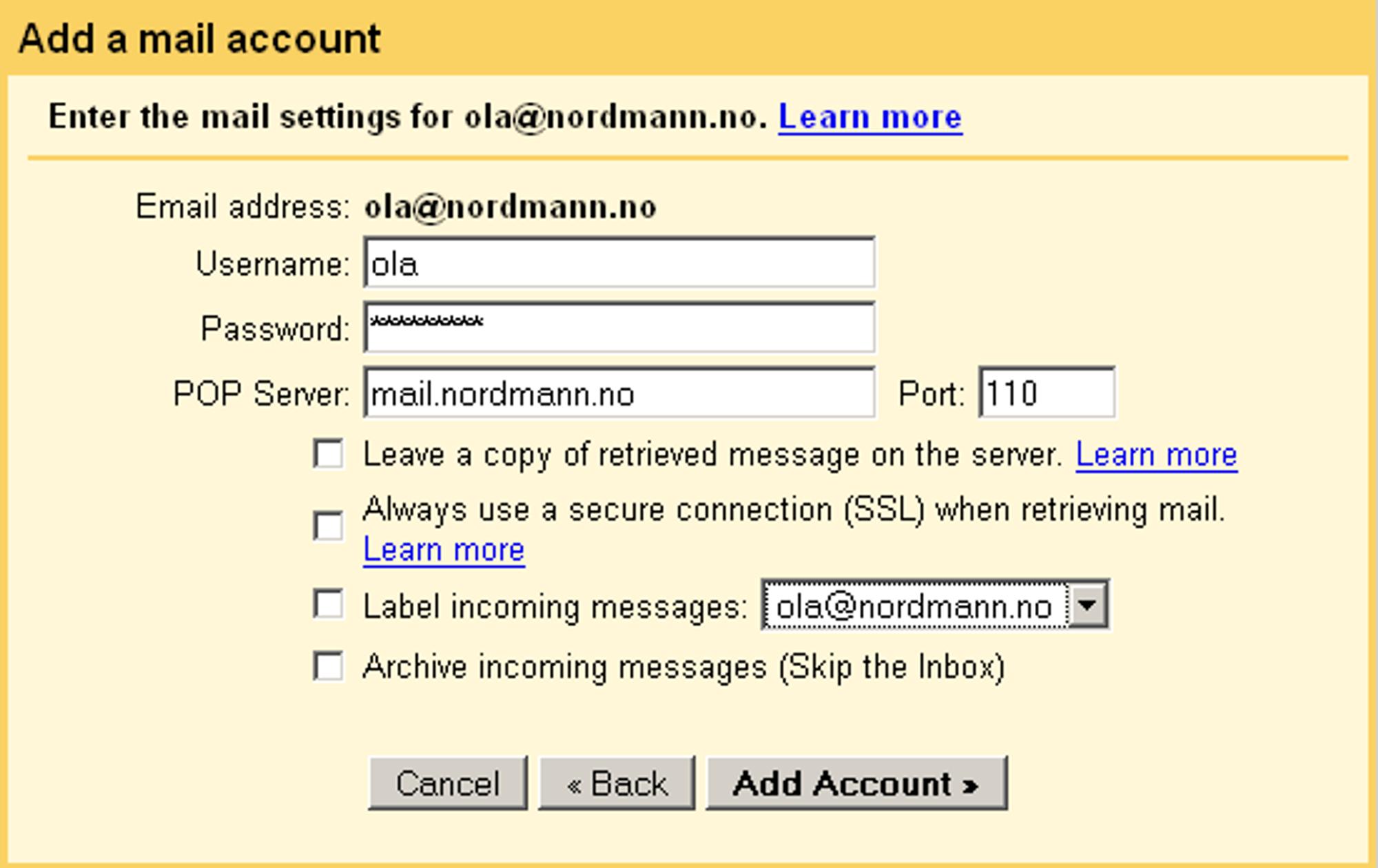 Legg til konto i Gmail