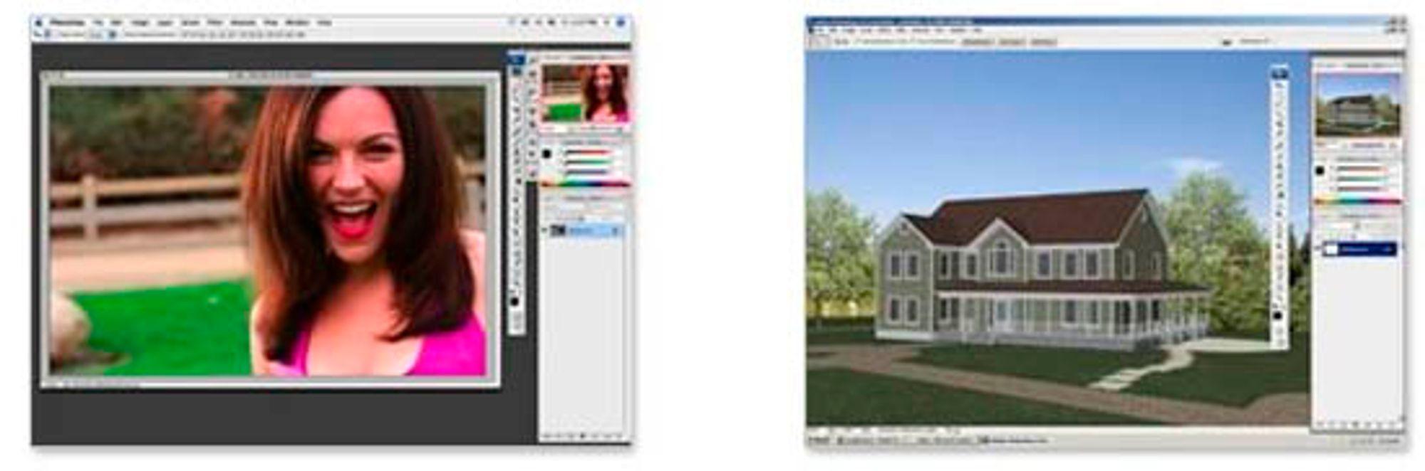 Photoshop, som vi kjenner til venstre - Photoshop Extended til høyre.