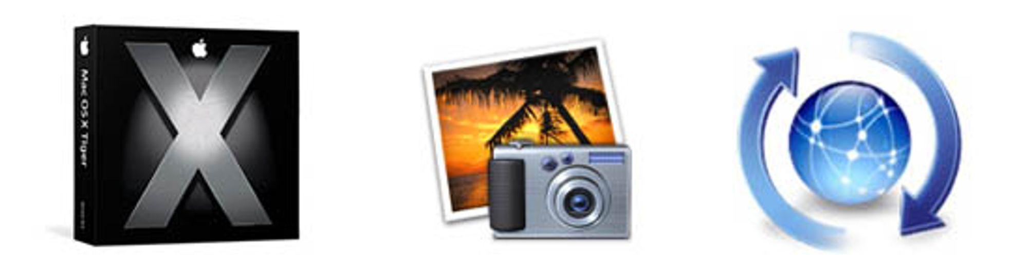 OS X Tiger og iPhoto kan nå oppgraderes.