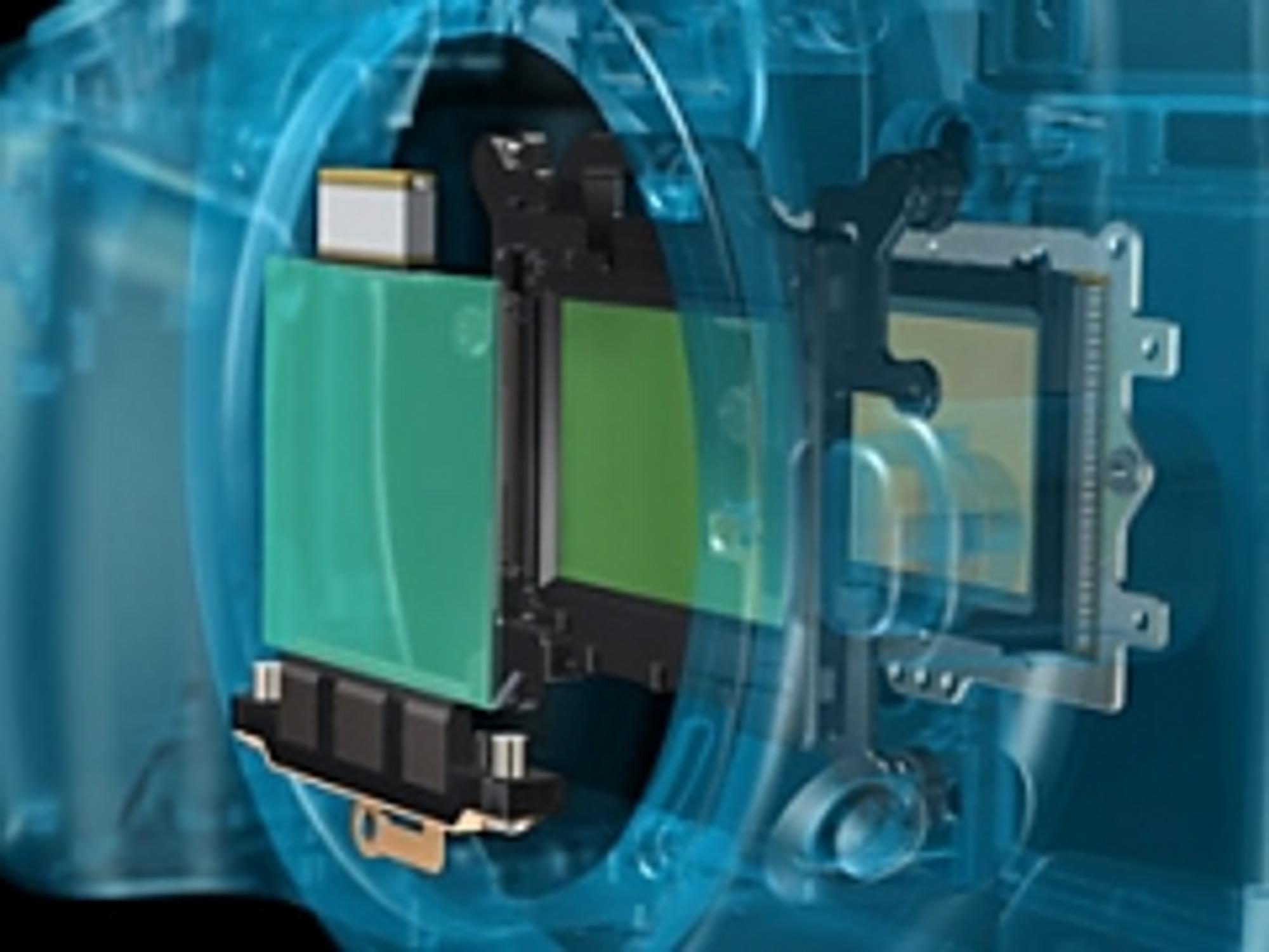 Canon EOS 400Ds støvfjerningsmekanisme.
