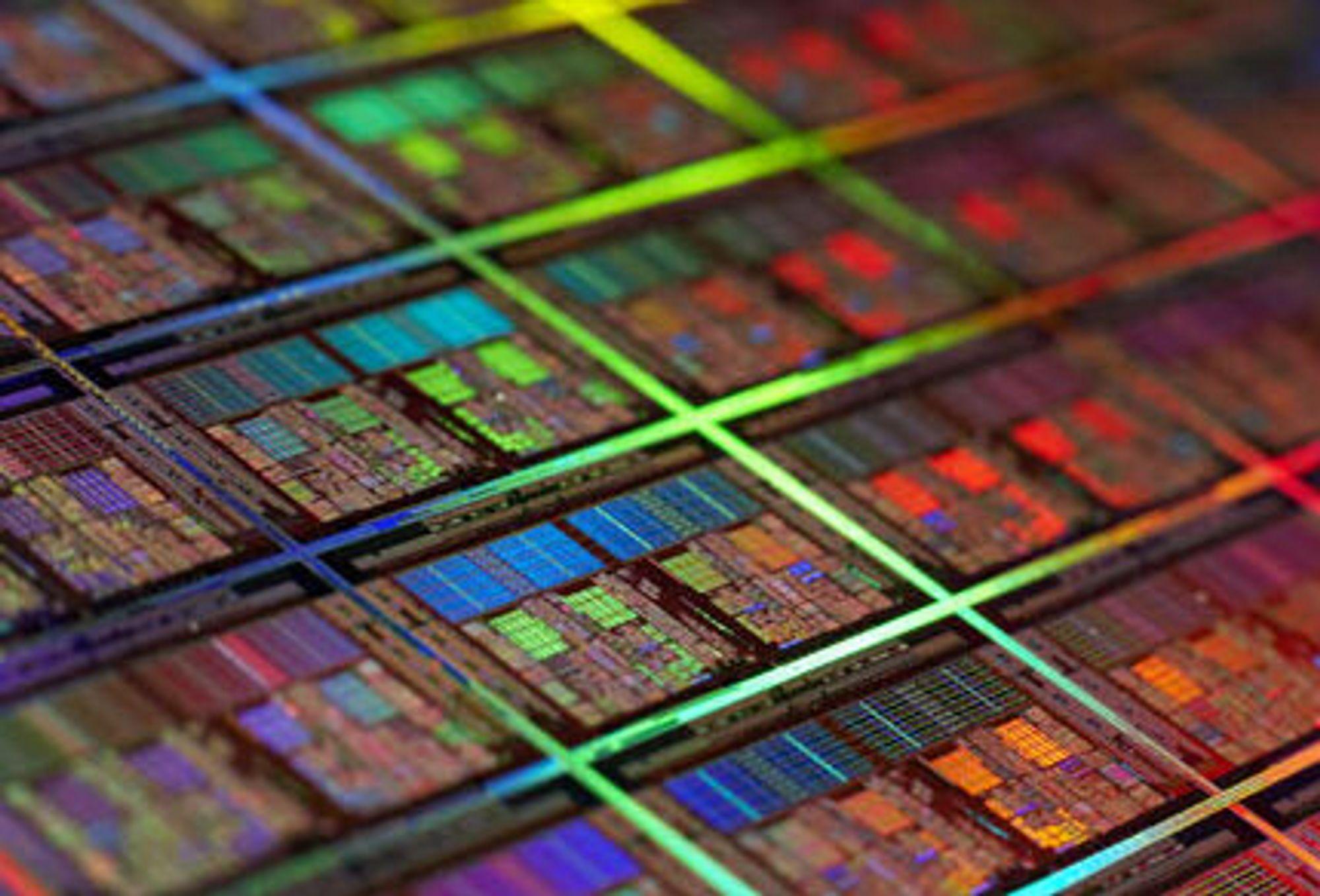 Nærbilde av wafer med AMD-firekjerner