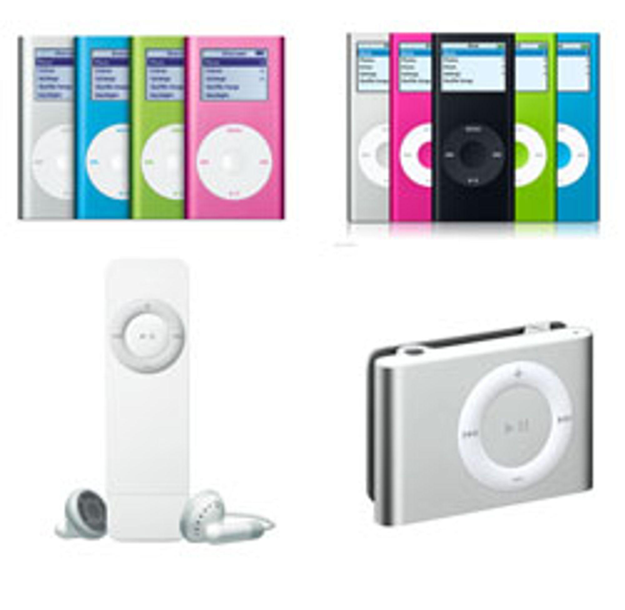 iPod Mini (ø.v) ble til Nano, mens iPod Shuffle (n.v) ble mindre.