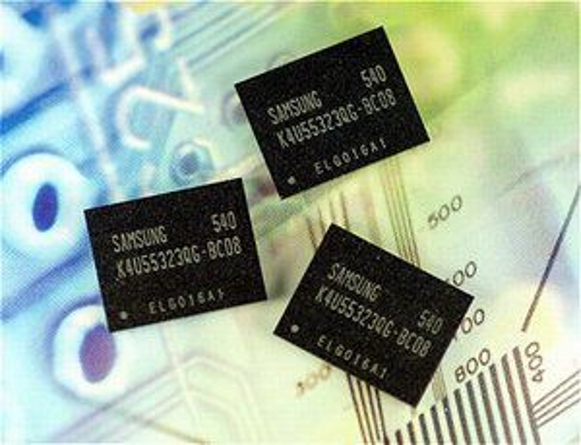 Bildet viser GDDR4-brikker fra Samsung
