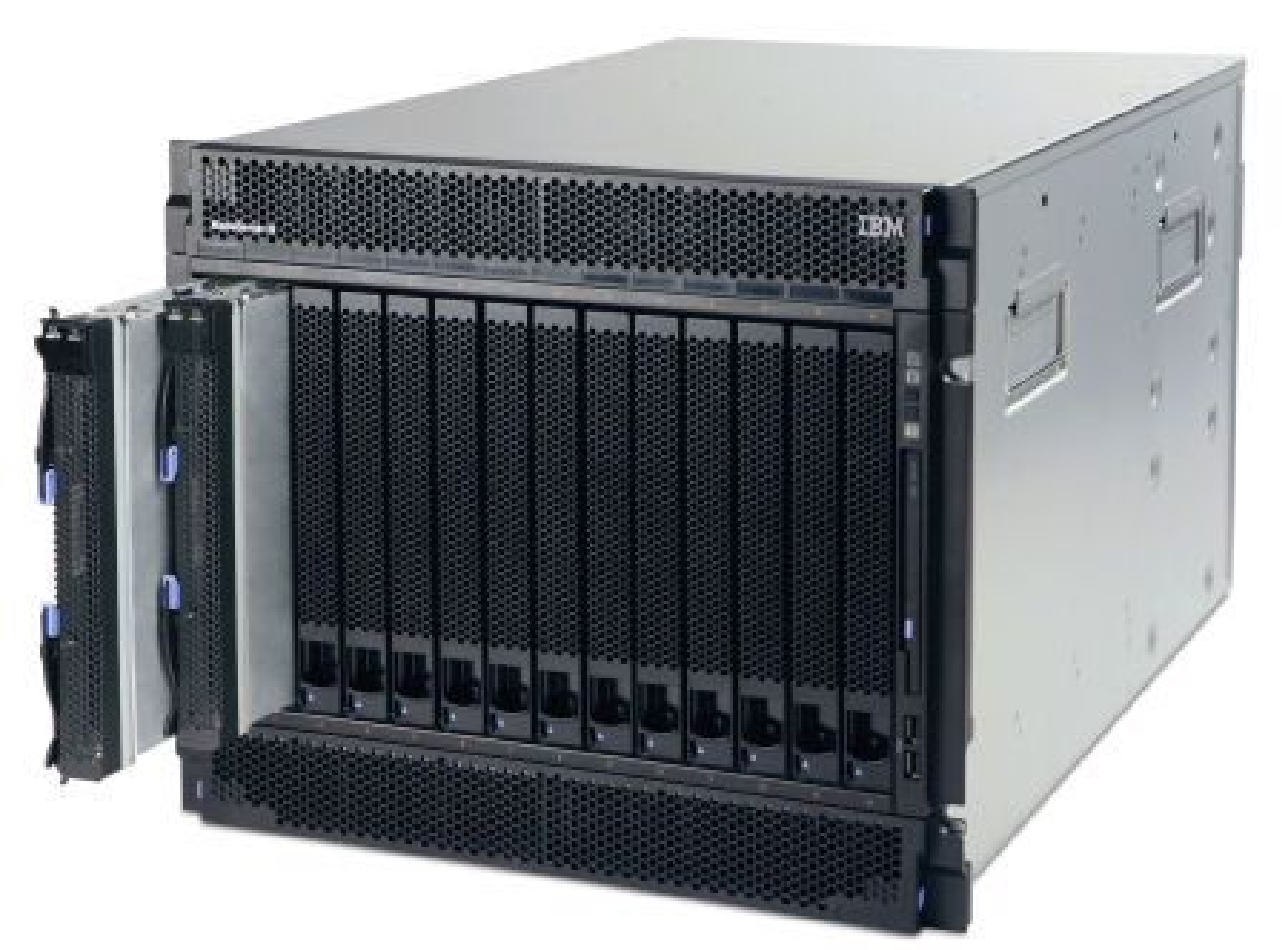Et tradisjonelt BladeCenter-kabinett for serverbruk