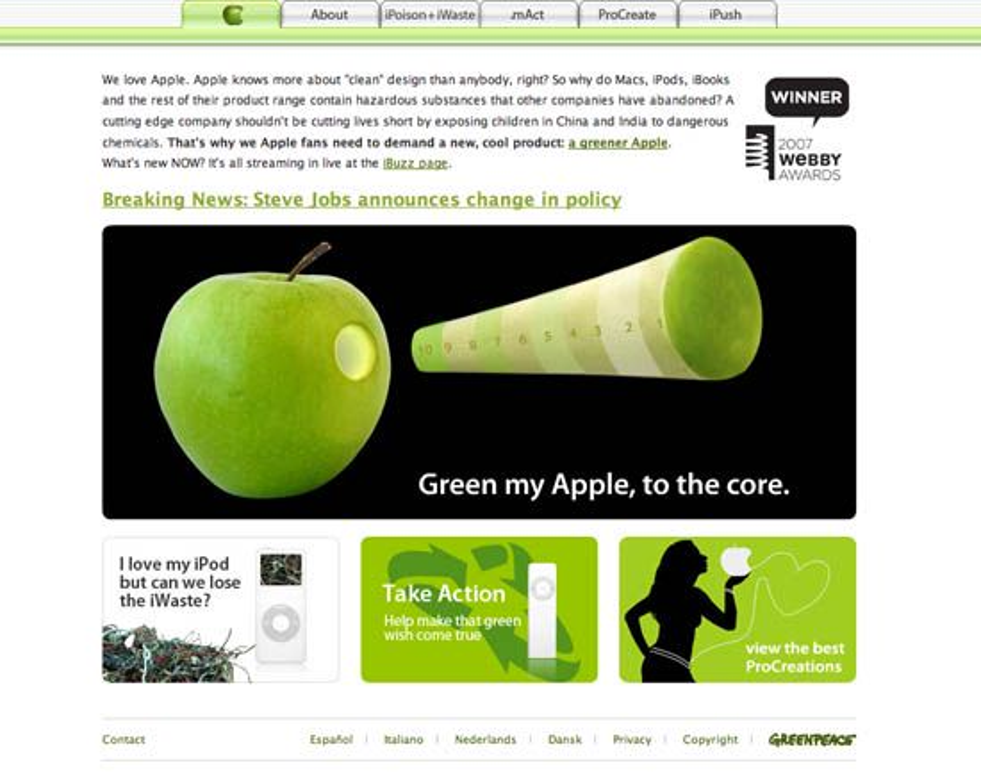 Skjermdump av Greenpace' egen Applewebside.