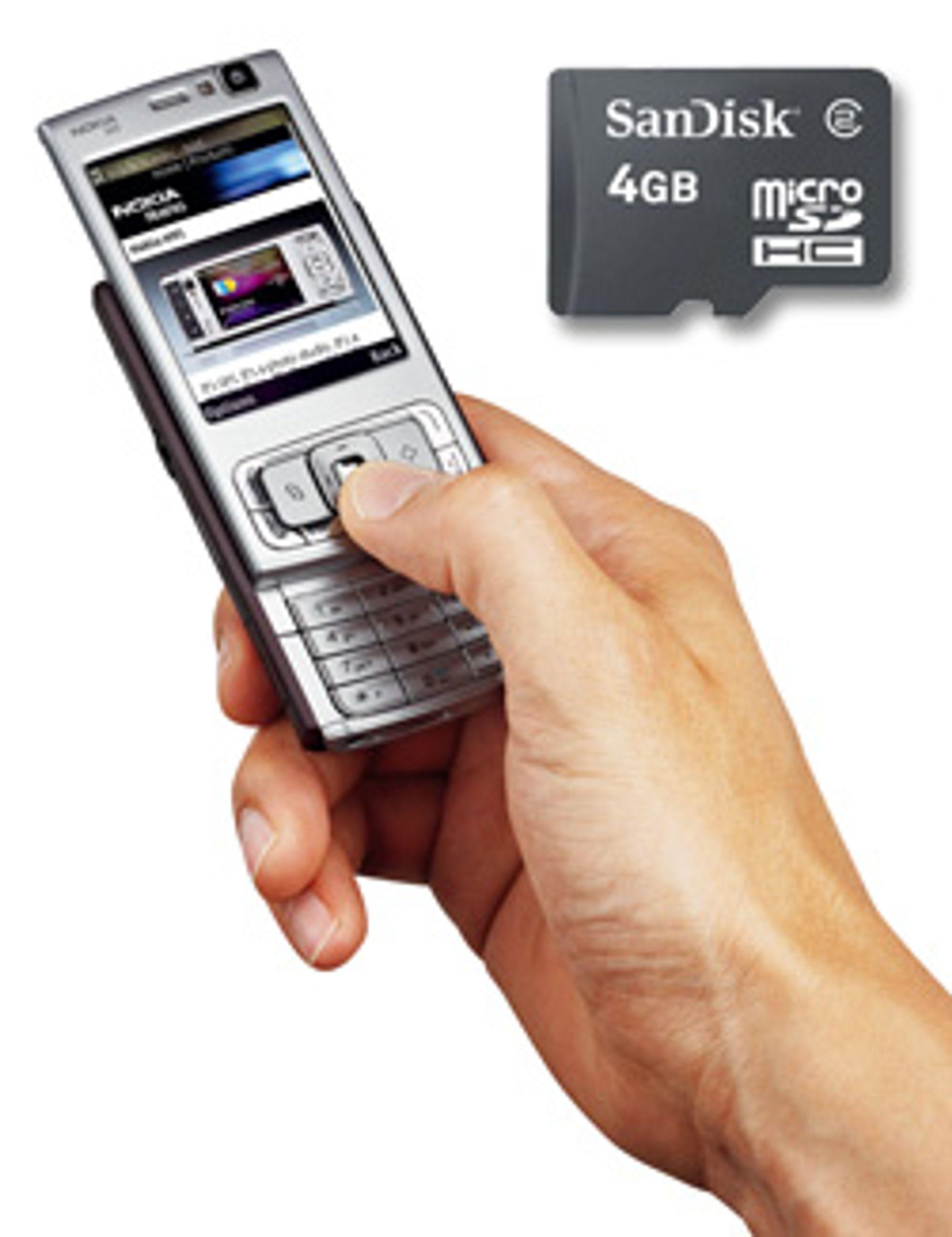 Nokia N95 støtter minnekort på 4 GB. (Foto: Nokia / Sandisk)