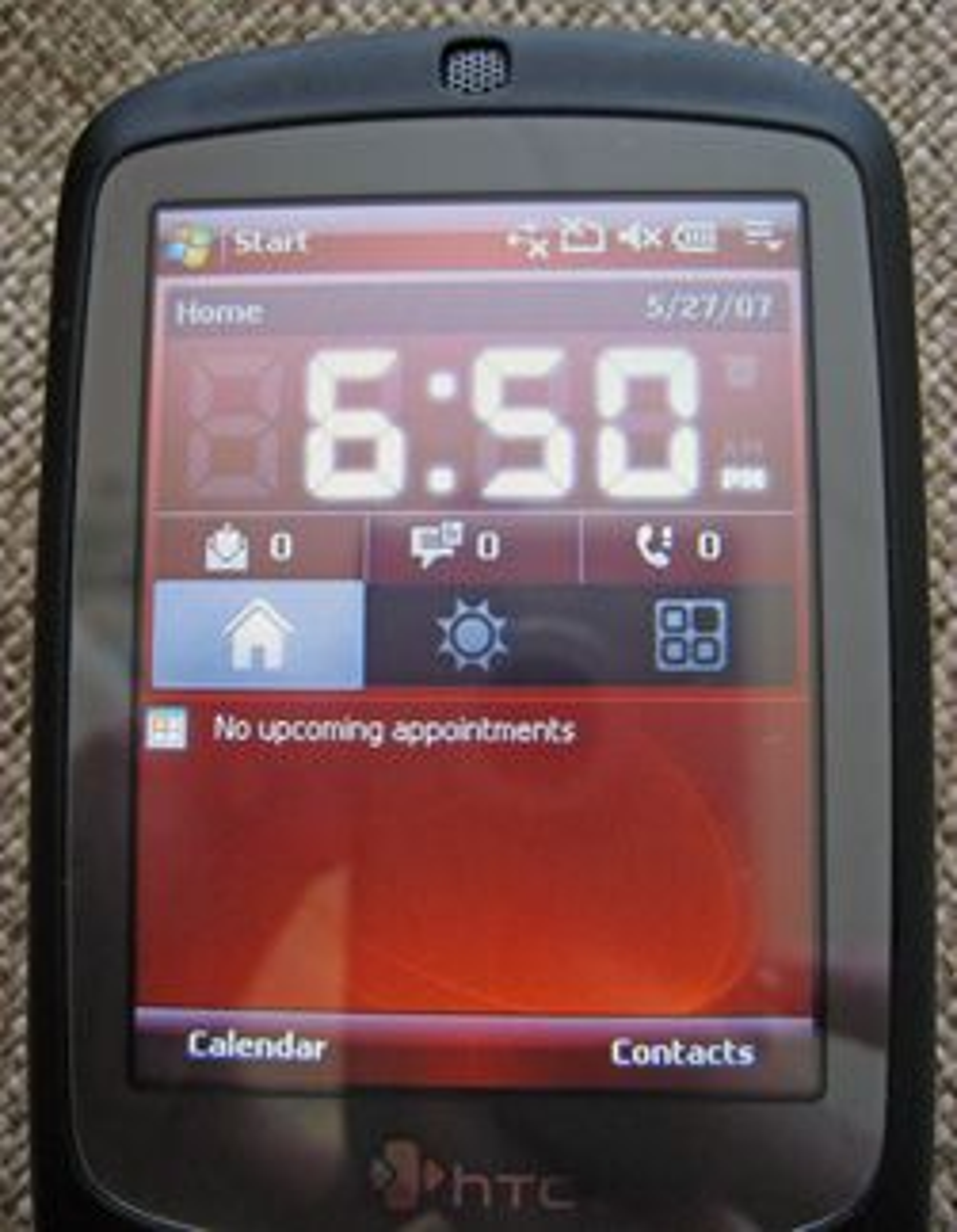 Menysystemet til HTC Touch.
