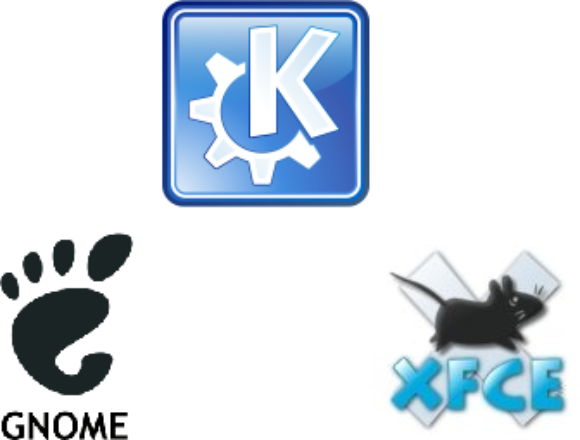 Tre populære skrivebordsmiljø til Linux - KDE, Gnome og XFCE.